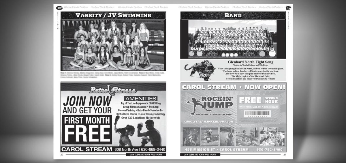Pages 20 and 21 of a Fall 2016 Glenbard North High School Sports Program Graphic Design by Roselle Graphic Designer Controlled Color, Inc.