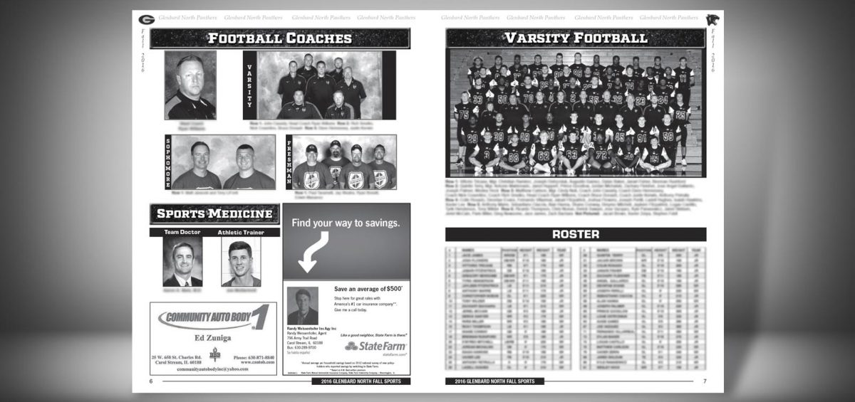 Pages 6 and 7 of a Fall 2016 Glenbard North High School Sports Program Graphic Design by Roselle Graphic Designer Controlled Color, Inc.