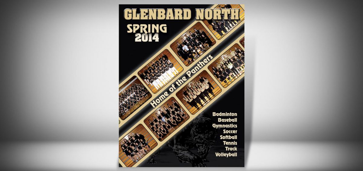 The Front Cover of a Spring 2014 Glenbard North High School Sports Program Graphic Design by Roselle Graphic Designer Controlled Color, Inc.