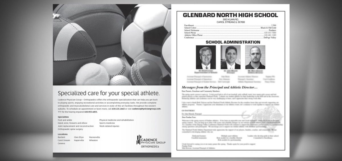 Pages 2 and 3 of a Spring 2014 Glenbard North High School Sports Program Graphic Design by Roselle Graphic Designer Controlled Color, Inc.