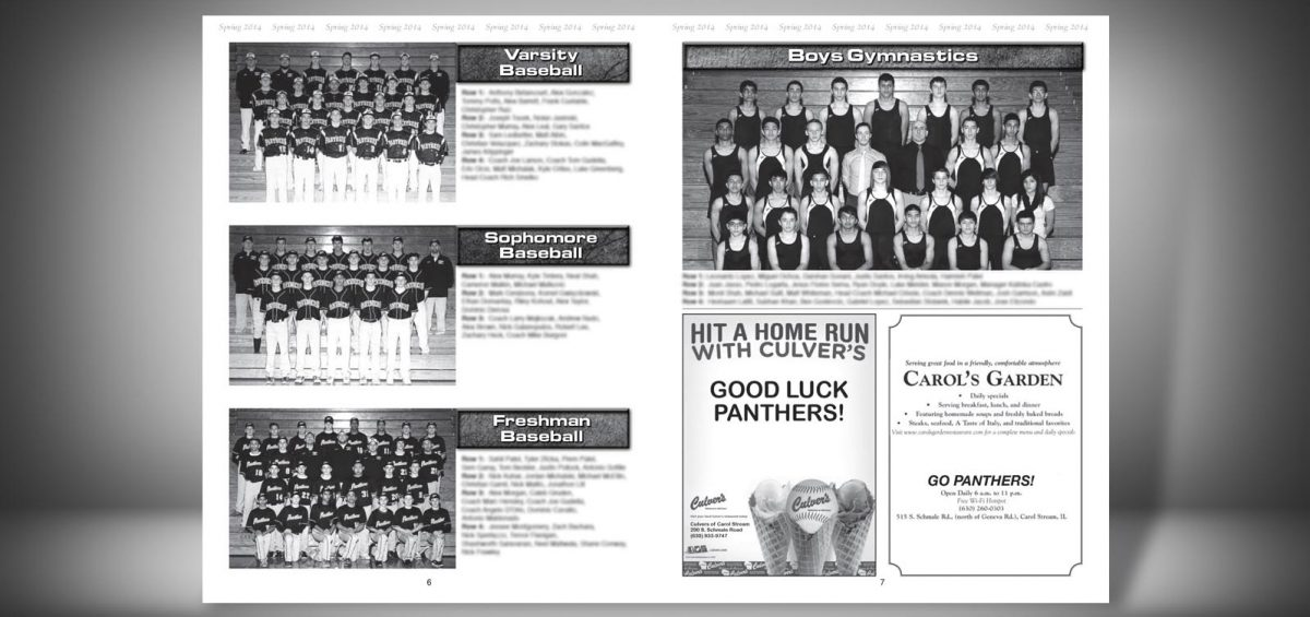 Pages 6 and 7 of a Spring 2014 Glenbard North High School Sports Program Graphic Design by Roselle Graphic Designer Controlled Color, Inc.