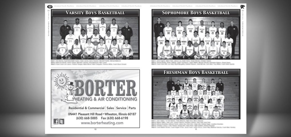 Pages 10 and 11 of a Winter 2015 Glenbard North High School Sports Program Graphic Design by Roselle Graphic Designer Controlled Color, Inc.