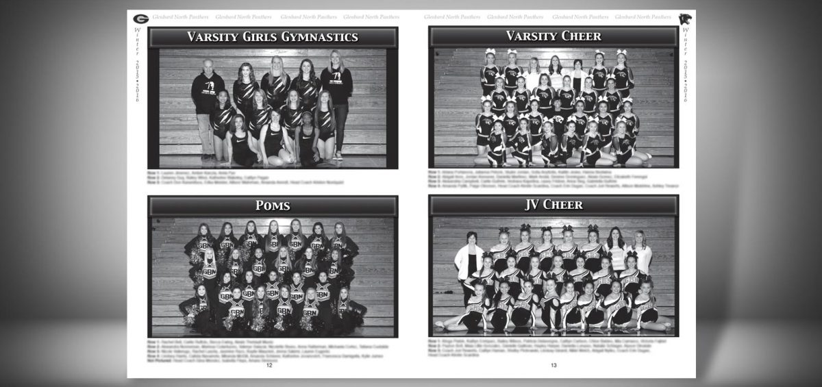 Pages 12 and 13 of a Winter 2015 Glenbard North High School Sports Program Graphic Design by Roselle Graphic Designer Controlled Color, Inc.