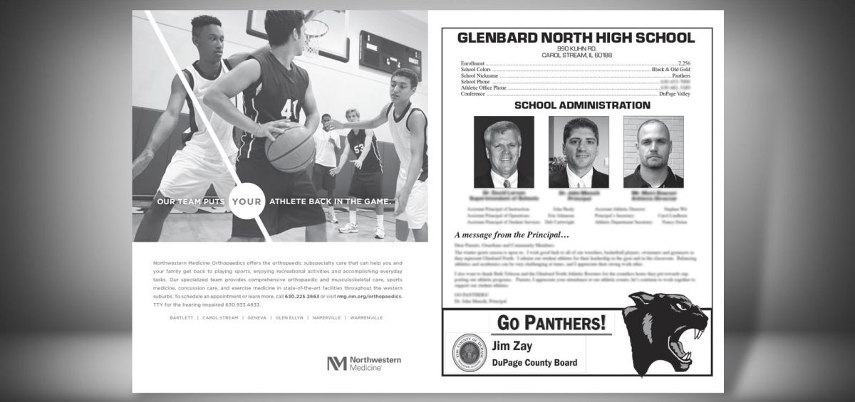 Pages 2 and 3 of a Winter 2015 Glenbard North High School Sports Program Graphic Design by Roselle Graphic Designer Controlled Color, Inc.
