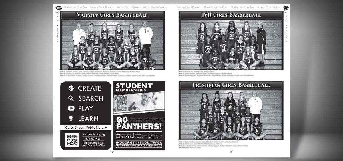 Pages 8 and 9 of a Winter 2015 Glenbard North High School Sports Program Graphic Design by Roselle Graphic Designer Controlled Color, Inc.