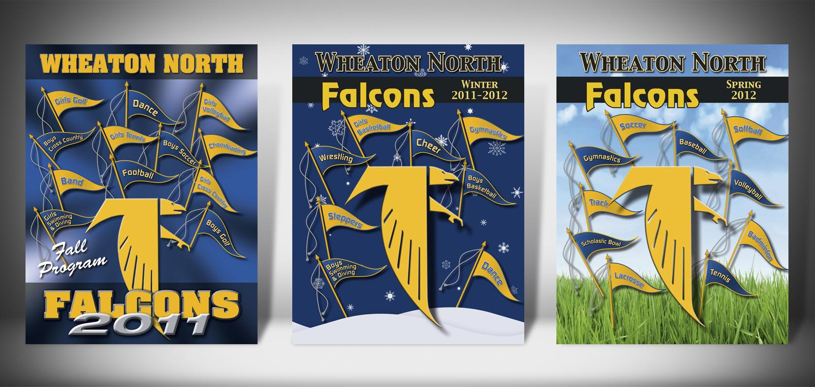 The Front Covers for the 2011-2012 Wheaton North High School Sports Program Graphic Design by Roselle Graphic Designer Controlled Color, Inc.