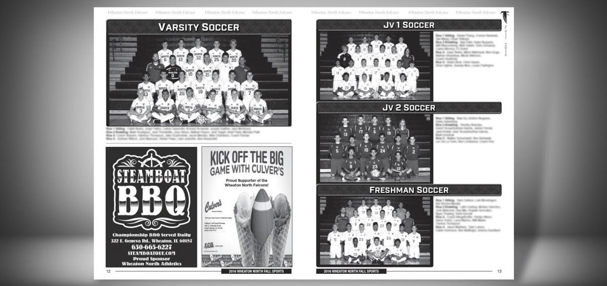 Pages 12 and 13 of a Fall 2016 Wheaton North High School Sports Program Graphic Design by Roselle Graphic Designer Controlled Color, Inc.