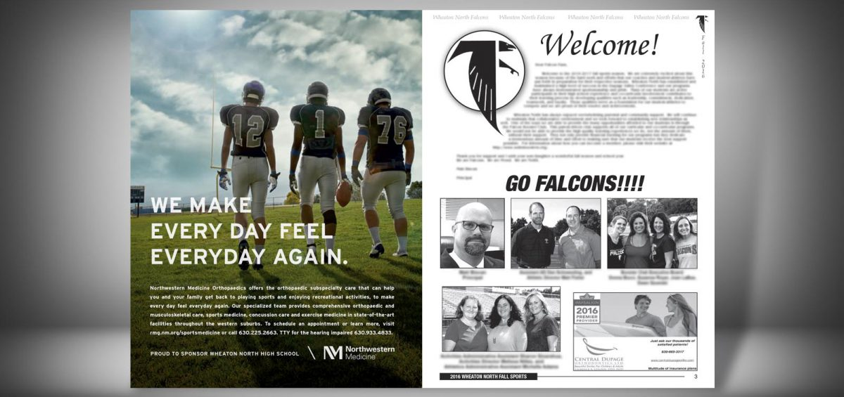 Pages 2 and 3 of a Fall 2016 Wheaton North High School Sports Program Graphic Design by Roselle Graphic Designer Controlled Color, Inc.