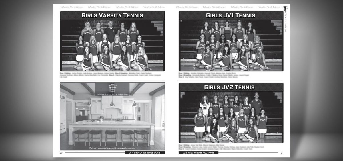 Pages 20 and 21 of a Fall 2016 Wheaton North High School Sports Program Graphic Design by Roselle Graphic Designer Controlled Color, Inc.