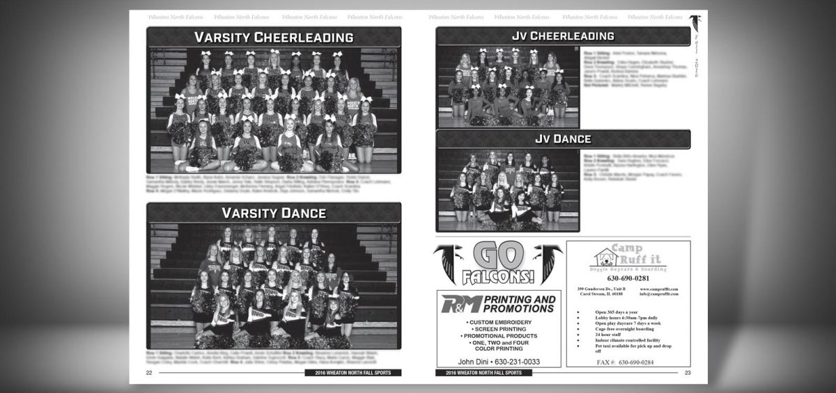 Pages 22 and 23 of a Fall 2016 Wheaton North High School Sports Program Graphic Design by Roselle Graphic Designer Controlled Color, Inc.