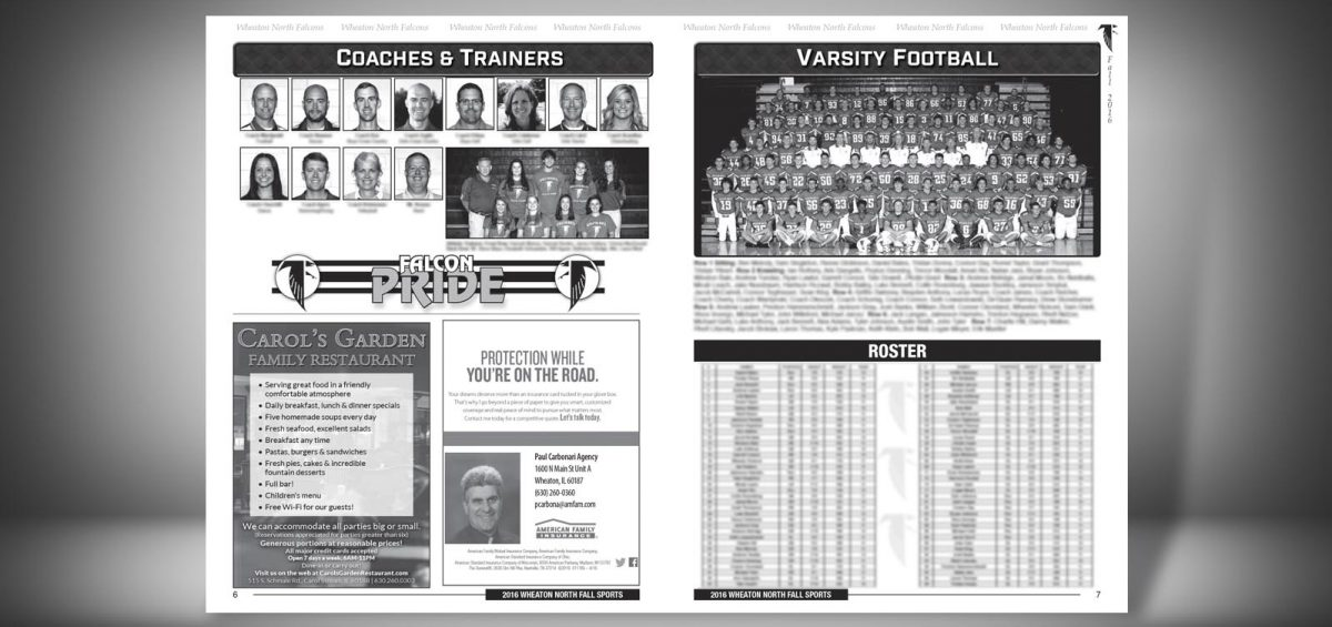 Pages 6 and 7 of a Fall 2016 Wheaton North High School Sports Program Graphic Design by Roselle Graphic Designer Controlled Color, Inc.