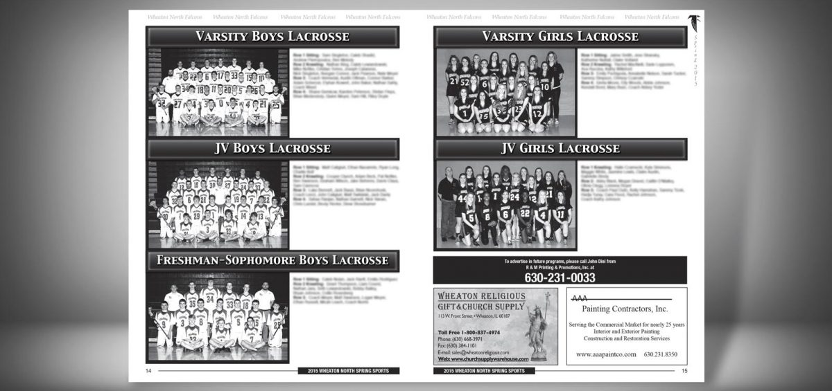Pages 14 and 15 of a Spring 2015 Wheaton North High School Sports Program Graphic Design by Roselle Graphic Designer Controlled Color, Inc.