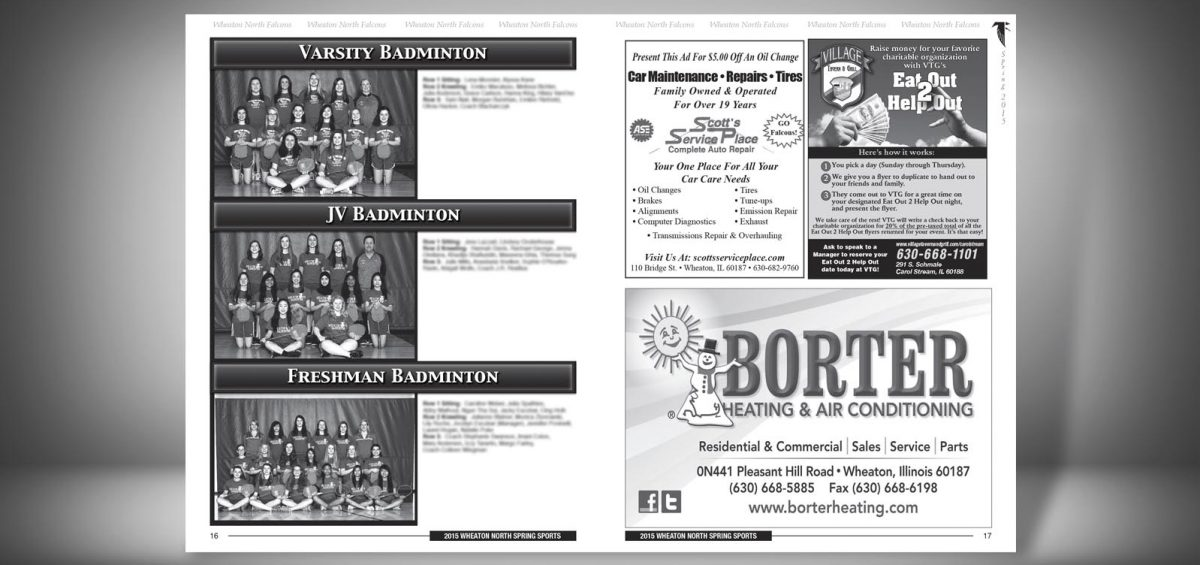 Pages 16 and 17 of a Spring 2015 Wheaton North High School Sports Program Graphic Design by Roselle Graphic Designer Controlled Color, Inc.