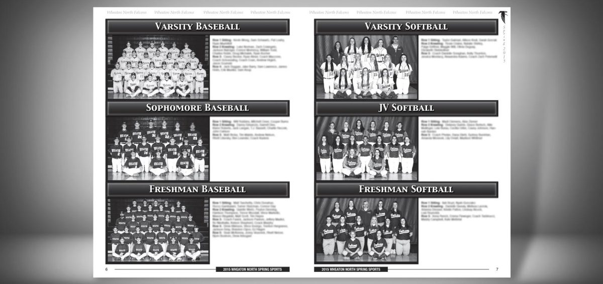 Pages 6 and 7 of a Spring 2015 Wheaton North High School Sports Program Graphic Design by Roselle Graphic Designer Controlled Color, Inc.