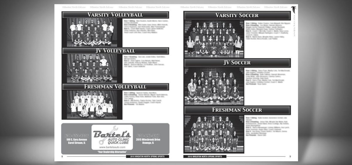 Pages 8 and 9 of a Spring 2015 Wheaton North High School Sports Program Graphic Design by Roselle Graphic Designer Controlled Color, Inc.