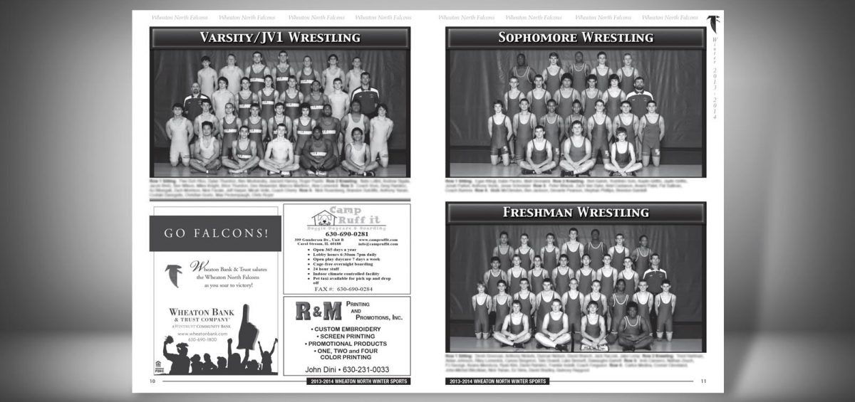 Pages 10 and 11 of a Winter 2013 Wheaton North High School Sports Program Graphic Design by Roselle Graphic Designer Controlled Color, Inc.