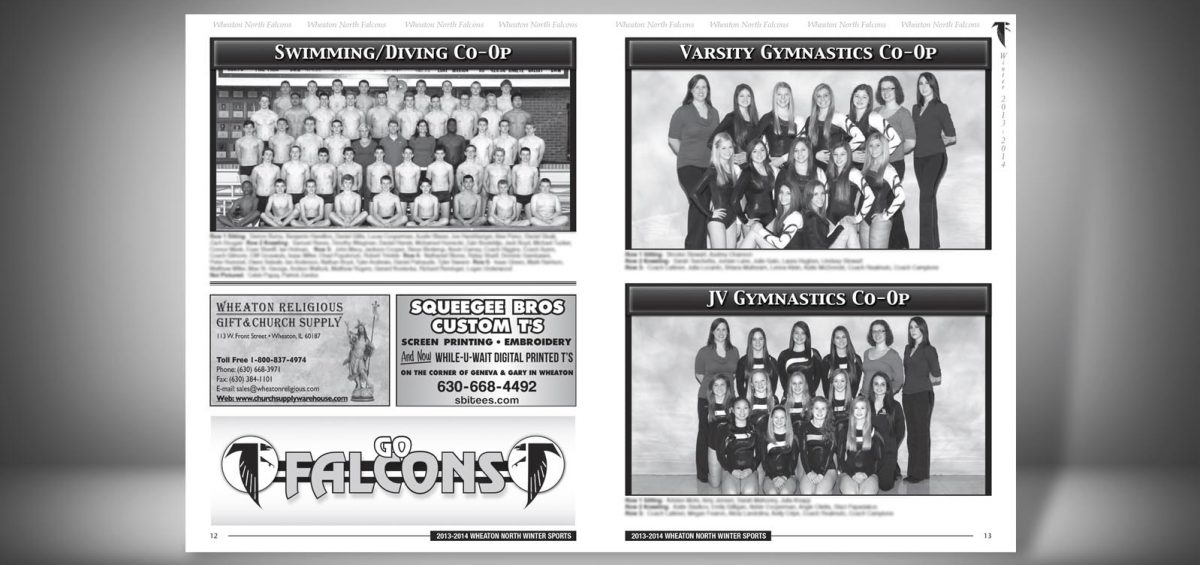 Pages 12 and 13 of a Winter 2013 Wheaton North High School Sports Program Graphic Design by Roselle Graphic Designer Controlled Color, Inc.