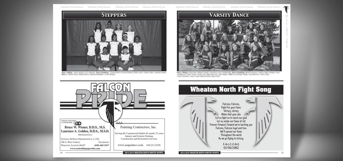 Pages 14 and 15 of a Winter 2013 Wheaton North High School Sports Program Graphic Design by Roselle Graphic Designer Controlled Color, Inc.