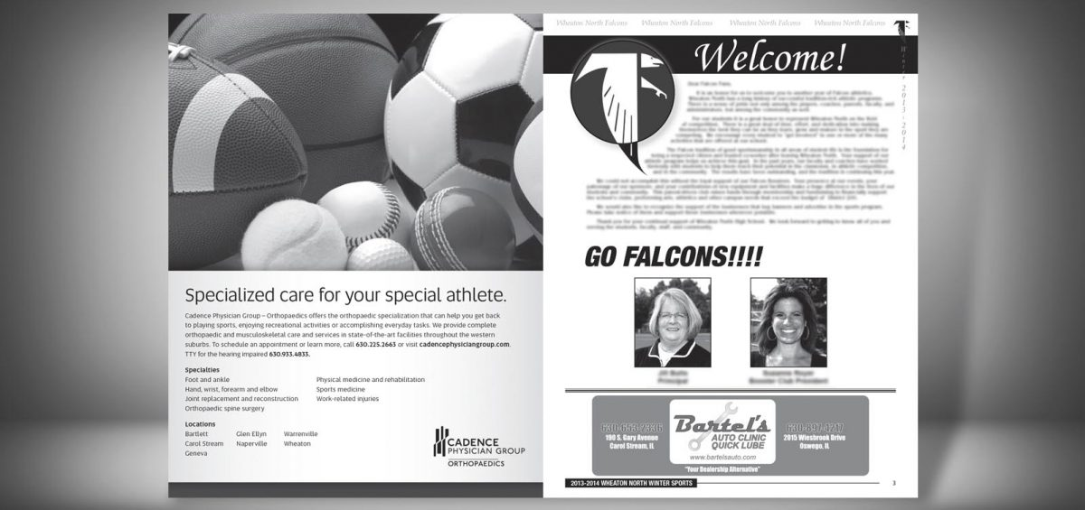 Pages 2 and 3 of a Winter 2013 Wheaton North High School Sports Program Graphic Design by Roselle Graphic Designer Controlled Color, Inc.
